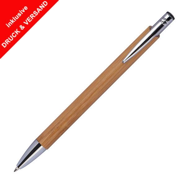 Bambus-Kugelschreiber mit Logo graviert