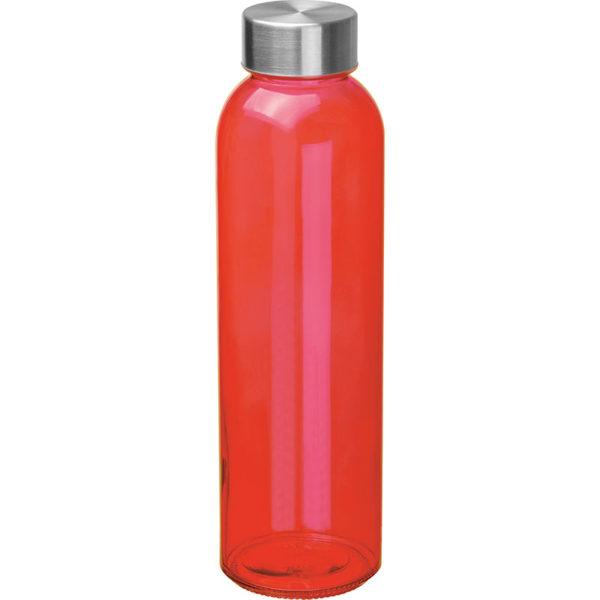 Glasflasche mit Edelstahlverschluß Rot