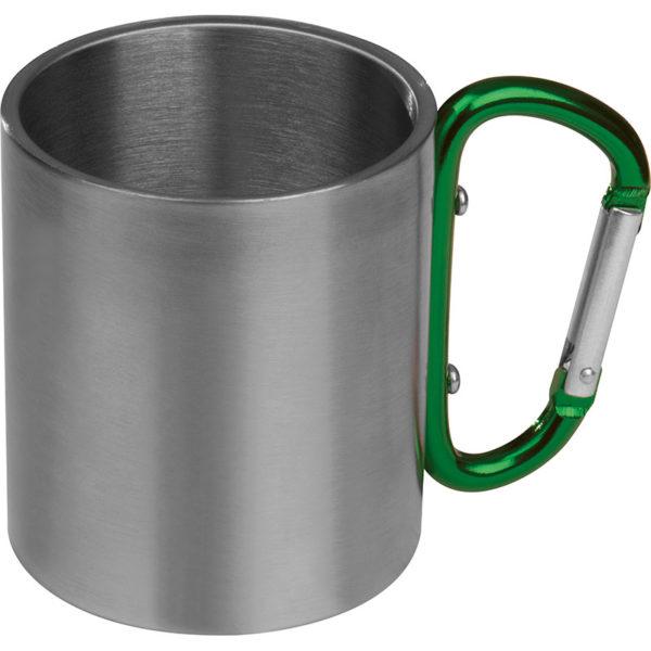 Metall-Tasse Grün mit Logo graviert